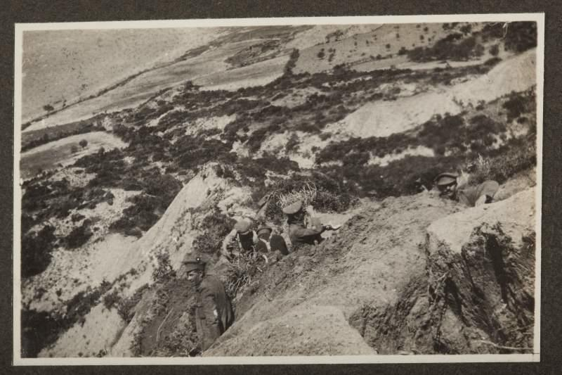 First trench dug by Nelson men on night of landing April 1915. Trench was from beach to 1/4 mile inland and men linked up with Australians. The Nelson men protected the beach on the left flank the first night. Sergeant Hammond of Richmond on right, Sergeant Major Glanville looking through glasses. - Nelson Provincial Museum