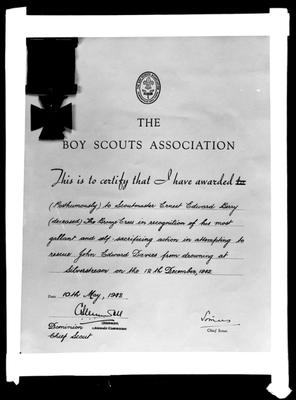 Berryman Scout Award, 10th May 1943