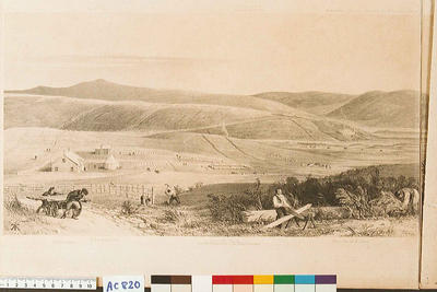 The town and part of the harbour of Nelson in 1842, about a year after its first foundation;
