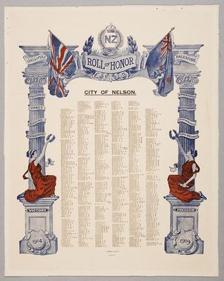 Roll of honour : City of Nelson, 1914 -1918