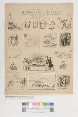Various incidents of the Maungatapu tragedy ; illustrated from sketches and photographs taken on the spot by Hodgson and Friend, Nelson; 1866; 48.48
