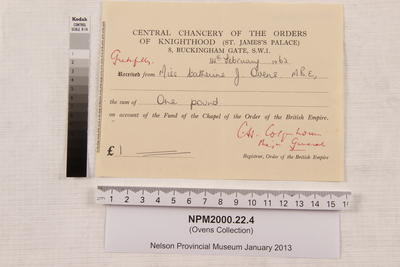 Central Chancery of the Orders of Knighthood (St. James Palace) 8, Buckingham Gate, S.W.1 : [receipt]; 14 Feb 1962; NPM2000.22.4