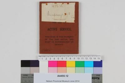 New Zealand soldier's pay book for use on active service : Humphreys, J.F., Maunganui