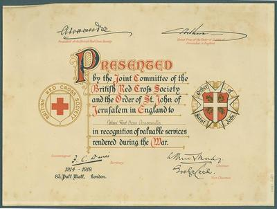 Presented by the Joint Committee of the British Red Cross Society and the Order of St. John of Jerusalem in England to Nelson Red Cross Association in recognition of valuable services rendered during the War.