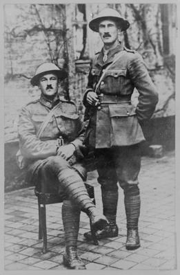Major C B Brereton standing and Sgt Major A H Guy seated.