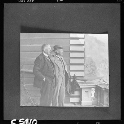 Sir Ernest Rutherford and Professor Easterfield on balcony of Cawthron Institute, Nelson