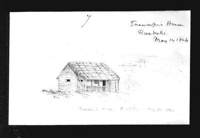 Barnicoat Sketches, Tuawaki's House, May 14, 1844, Raubuki