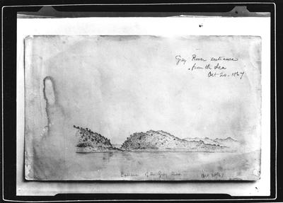 Barnicoat Sketches, Grey River Entrance from sea, Oct 20 1867