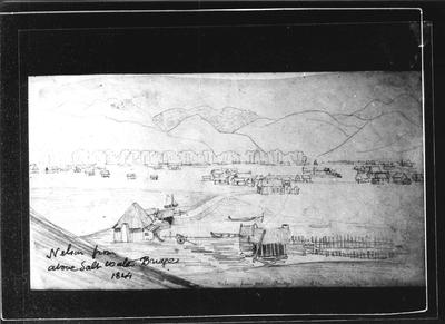 Barnicoat Sketches. Nelson from above Saltwater bridge 1844