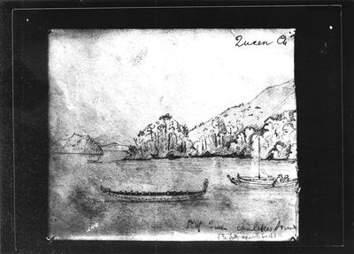 Barnicoat Sketch, Queen Charlotte Sound, April 19 1843. Part one of 2 part panorama