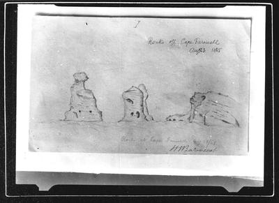 Barnicoat Sketches. Rocks off Cape Farewell. August 23rd 1865