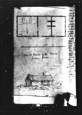 Barnicoat Sketches. Plan and sketch of the Weimai Survey House