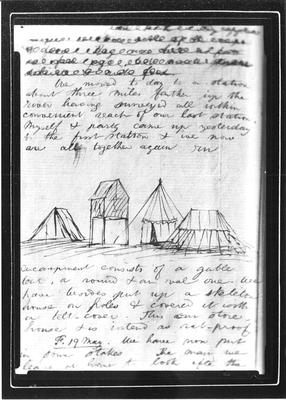 Barnicoat Sketches. Page from diary showing sketch of survey tents