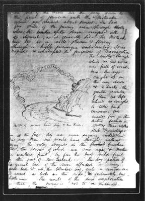Barnicoat Sketches. Page from diary showing sketch of Motueka River