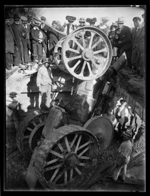 Traction engine accident