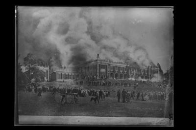 Nelson College on fire, 7 December 1904