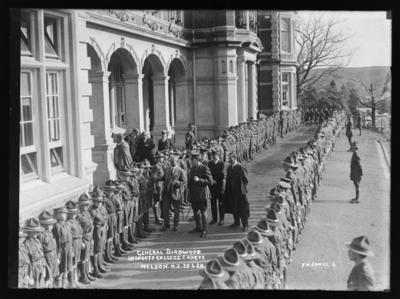 General Birdwood Inspects College Cadets Nelson.N.Z. 25.6.20.