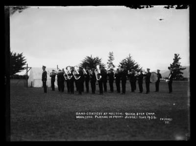 Band Contest at Nelson. Quick Step. Comp. Woolston. Playing in Front. Judges Tent. 19.3.21.; 19 Mar 1921;