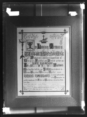 Tablet to the memory of William Brereton in St James Church, Ngatimoti