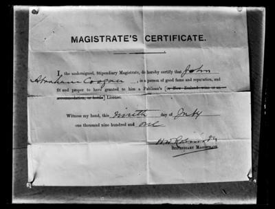 John Abraham Coogan, Magistrates Certificate, Publicans licence, 9th July 1901