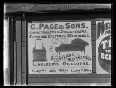 G. Page & Sons Cabinetmakers & Upholsterers, advertisement