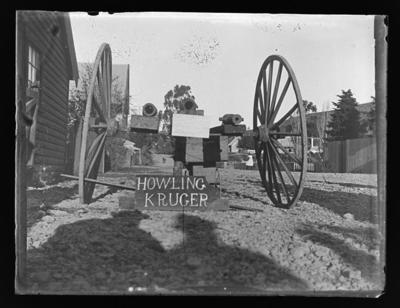 Mock-up of gun carriage with three guns