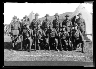 Off to the War. The Tapawera Mounted Contingent in camp at Nelson N.Z. Aug 16. 14.