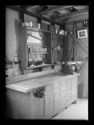 Workshop interior with machinery tools