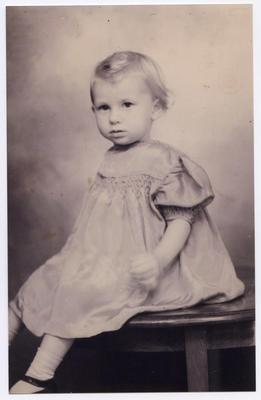 Ann Sowman, child, in her blue dress