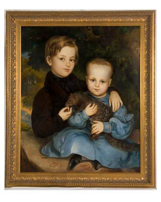 [Thynne-Thomas children with a pet mongoose]