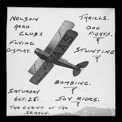 Advertisement for 1933, Flying display at Stoke.