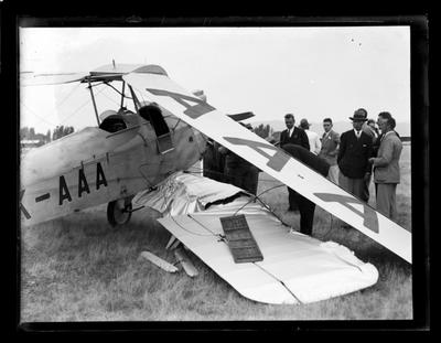 Nelson Aero Club, damaged plane