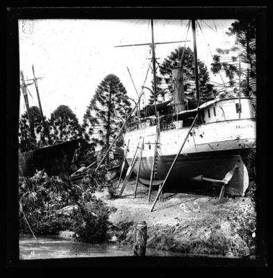 Boat with funnel, propped up on land
