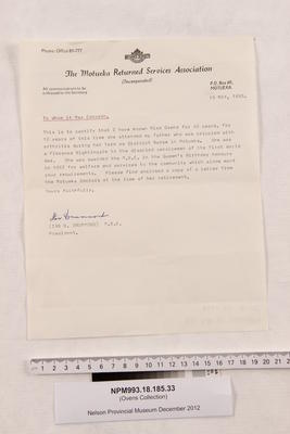 Letter, testimonial.; 15 May 1985; NPM993.18.185.33