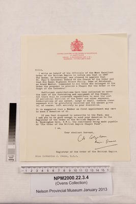 Letter to Miss Catherine J. Ovens, M.B.E. from C.H. Colquhoun, Registrar of the Order of the British Empire; NPM2000.22.3.4