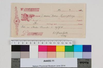 Cheque for ten shillings payable to J.F. Humphreys
