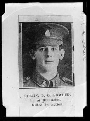 Rflmn R G Fowler of Blenheim. Killed in action.