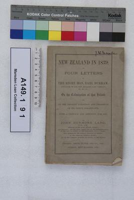 New Zealand in 1839: or, Four letters to the Right Hon.  Earl Durham, governor of the New Zealand Land Company ... on the colonization of that island, and on the present condition and prospects of its native inhabitants : with a preface and appendix for 1873