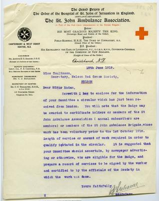Letter from the Canterbury and West Coast branch of St. John's Ambulance Association to the Nelson Red Cross Society, 18 June 1919