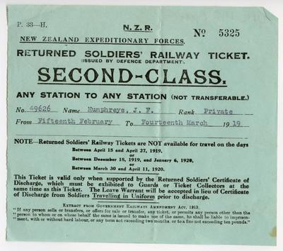 N.Z.R.: New Zealand Expeditionary Forces : returned soldiers' railway ticket : second class; 1919; A4455.1