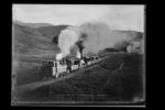 A Record Train Going Up Jenkin's Hill. Nelson. N.Z. Returning from the Show - With 1000 Passengers. Nov.1908.