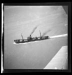Aerial view of steamship, collier