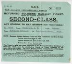 N.Z.R.: New Zealand Expeditionary Forces : returned soldiers' railway ticket : second class